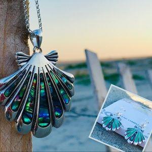 Jewelry - SET! Abalone-inlaid shell necklace & jewelry